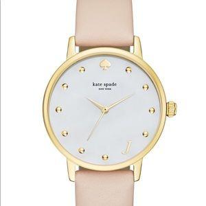 Kate Spade Metro Monogram PinkLeather Strap Watch